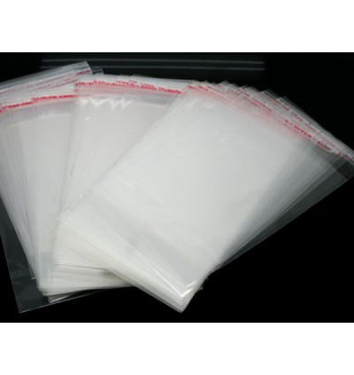 B05759: 200 pieces 13.5x6cm (Usable Space: 9x6cm) Plastic Self-Seal Bags Rectangle Transparent With Hang Hole Packaging [ O/S ]
