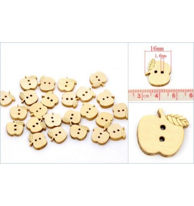 B10025: 50 pieces 16x15mm Apple Charms 2 Holes Wood Sewing Buttons DIY Kids Craft Scrapbooking [ B16 ]