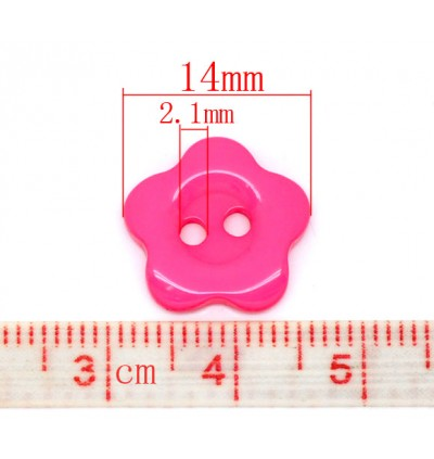 B10137: 200 pieces 14mm Resin Sewing Buttons Scrapbooking 2 Holes Flower Mixed DIY Kids Craft [ C9 ]