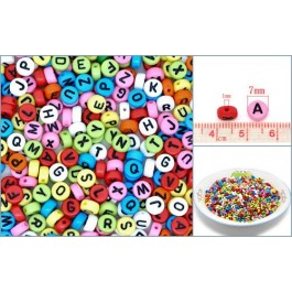 B10426: Multicolor Flat Round Alphabet /Letter 7x3.5mm, 500 pieces/pack [ B4 ]