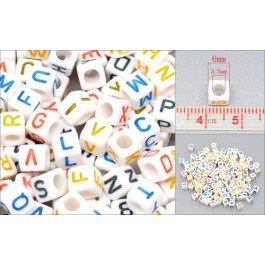 B10567: White Alphabet /Letter A-Z Beads 6x6mm, 500 pieces/pack [ B4 ]