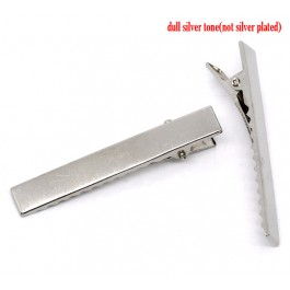 B10849: 40 pieces 57mm Alloy Alligator Hair Clips Rectangle Silver Tone DIY Hair Accessory [ C16 ]