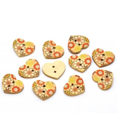 B11157: Multicolor Flower Heart Wood Buttons 18x15mm, 100 pieces