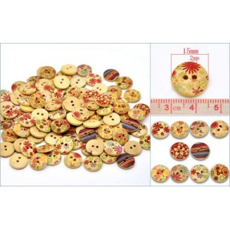 B12762: 100 pieces 15mm Wood Sewing Buttons Scrapbooking Round Multicolor 2 Holes Mixed Flower Pattern DIY Kid Craft [ C1 ]