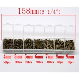 B13000: Mixed Antique Open Jump Rings 4mm-9mm, (1510 pieces Assorted) [ B6 ]