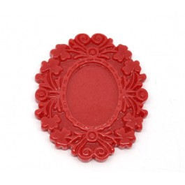 B13576: Red Resin Cameo Frame Settings 5x3.9mm (Fit 25.5x18.5mm), 10 pieces [ B8 ]