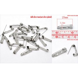 B14303: Silver Tone Brooch Back Bar Pins 25x5mm, 100 pieces [ C6 ]