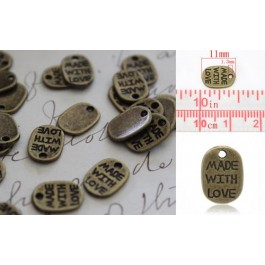 "B14389: Antique ""Made with Love"" 11x8mm, 50 pieces"