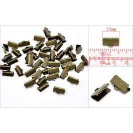 B14626: Bronze Textured End Cap Crimp 13x8mm, 100 pieces/pack [ A18 ]