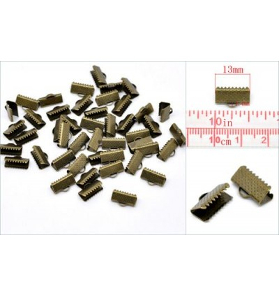 B14626: 100 pieces 13mm Necklace Cord End Caps Ribbon Crimp End Findings Antique Bronze DIY Craft [ A18 ]