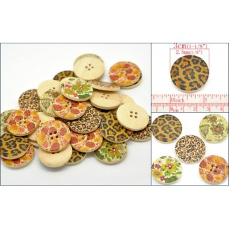 B15475:Mixed 4 Holes Wood Buttons 3cm, 50 pieces [ B6 ]