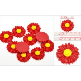 B15641: Red Resin Flower Findings 27x27mm, 30 pieces [ C13 ]