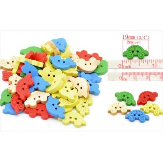 B16644: Mixed Car Wood Buttons 19x11mm, 100 pieces [ C11 ]