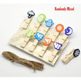 B17776: Weather Icon Wooden Memo Photo Clips, 20 pieces