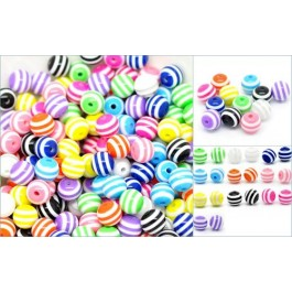 B18619: Mixed Striped Round Resin Beads 10mm, 300 pieces [ C3 ]