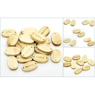 B19443: Mixed Oval Message Wood Connectors 17x11mm, 200 pieces [ B15 ]