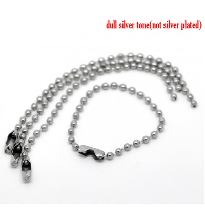 B19901: Silver Tone Clasp Ball Chains Keychain Tag 10cm, 100 pieces [ C1 ]