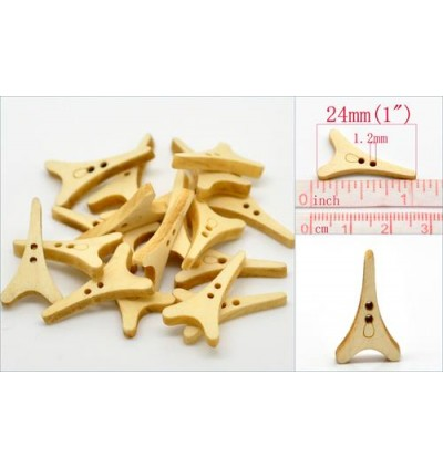 B20162: 50 Pieces 24mmx14mm Tower 2 Holes Wood Sewing Buttons Scrapbooking [ B17 ]