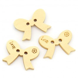 """B20164: 50 pieces 18x13mm """"Love"""" Bowknot 2 Holes Wood Sewing Buttons Scrapbooking [ B17 ]"""