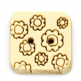 B20168: 100 pieces 15x15mm Square 2 Holes Wood Sewing Buttons Scrapbooking [ B17 ]