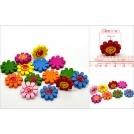 B20823: Mixed Cute Sun Flower Wood 23mm, 100 pieces [ C13 ]