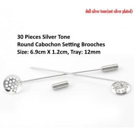 B21712: 30 Pieces Silver Tone Round Cabochon Setting Brooches DIYY craft 6.9x1.2cm, Tray:12mm [ C9 ]