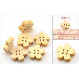 B21749: Flower Wood Buttons 12x12mm, 100 pieces