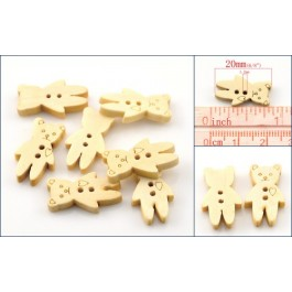 B21755: Bear Wood Buttons 20x12mm, 25 pieces [ B8 ]