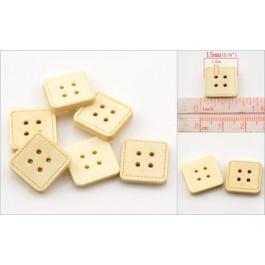 B21768: Square 4 Holes Wood Buttons 15x15mm, 200 pieces