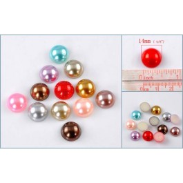 B22139: Mixed Color Acrylic Pearl Cabochon 14mm, 100 pieces [ A8 ]