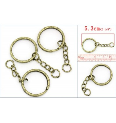 B22221: Iron Based Alloy Keychain & Keyring Round Antique Bronze Stripe Carved 53mm, 30 pieces [ B17 ]