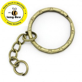 B22221: Key Chains Key Rings Antique Bronze 5.3cm, 30 pieces [ B17 ]