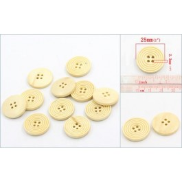 B22501: Wood Buttons Round Pale Yellow 25mm, 50 pieces