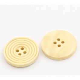 B22501: 50 pieces 25mm Wood Buttons Round Pale Yellow [ B13 ]