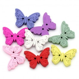 B23787: 100 pieces 18x24mm Mixed Wood Buttons Butterfly Scrapbooking 2 Holes DIY Sewing Craft Kid [ A15 ]
