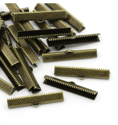B24051: 100 pieces 25mm Necklace Cord End Caps Ribbon Crimp End Findings Antique Bronze DIY Jewelry Making [ B3 ]