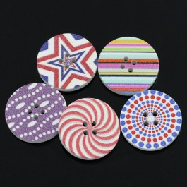 B24195: 30 pieces 3cm Mixed Wood Buttons Round DIY Kid Craft Sewing Button Scrapbooking Round 4 Holes [ C1 ]