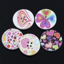 B24197: 30 pieces 3 cm Mixed Wood Buttons Round DIY Kid Craft Sewing Button Scrapbooking Round 4 Holes [ C9 ]
