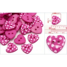 B24700: Fuchsia Buttons Heart 15x14mm, 100 pieces [ A12 ]