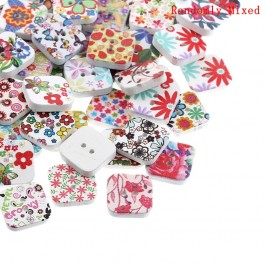 B24849: 100 pieces 19x19mm Wood Sewing Buttons Scrapbooking Square Multicolor 2 Holes Flower Painted DIY Kid Craft [ C12 ]