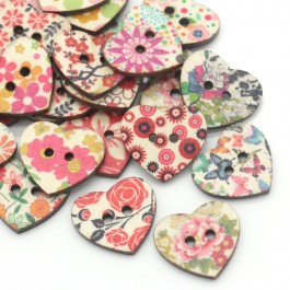 B24853: Wood Buttons Heart Mixed Flower Painted 25x22mm, 100 pieces [ C8 ]