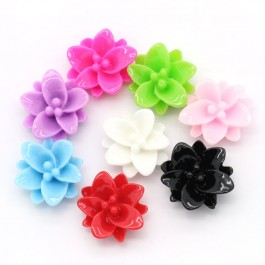 B24957: 100 pieces 13x12mm Flower Resin Embellishment Findings DIY Jewelry Making Ear Ring Brooch [ C14 ]