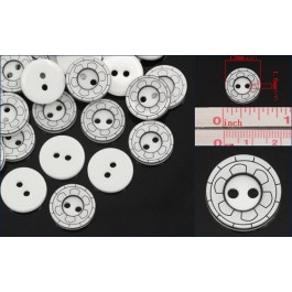 B25216: Resin Buttons White Curve Stripe 13mm,50 pieces [ B9 ]