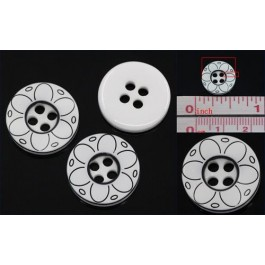 B25218: Resin Buttons Round White Curve Stripe 13mm, 200 pieces [ B9 ]