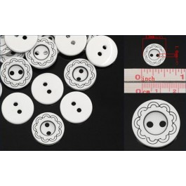 B25219: Resin Buttons Round White Curve Stripe 13mma, 200 pieces [ B9 ]