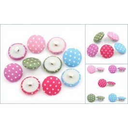 B25236: Woven Cloth Shank Buttons Round Dot 16.5mm, 100 pieces [ B14 ]