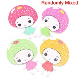 B25581: 30 pieces 5x3.8cm Wood Buttons Little Girl Mixed DIY Sewing Carft Brooch [ C11 ]