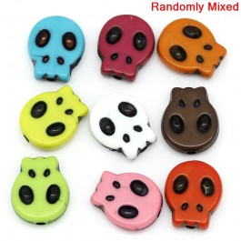 B27100: 100 pieces 15x13mm Acrylic Skull Halloween Mixed DIY Kid Jewelry Making Bracelet Necklace [ B14 ]