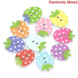 B27319: 100 pieces 16x12mm Cute Kawaii Strawberry Wood Buttons Scrapbooking DIY Sewing Craft Kid [ C11 ]
