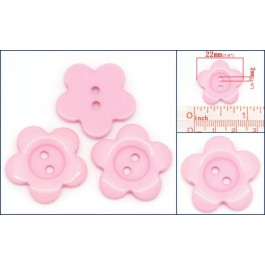 B27691: Resin Buttons Flower 2 Holes Pink 22x22mm,100 pieces [ A12 ]